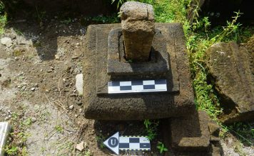 Salah satu temuan situs di Dusun Gaten, Desa Sumberrejo, Kecamatan Tempel, Sleman yang diperkirakan bangunan candi Hindu